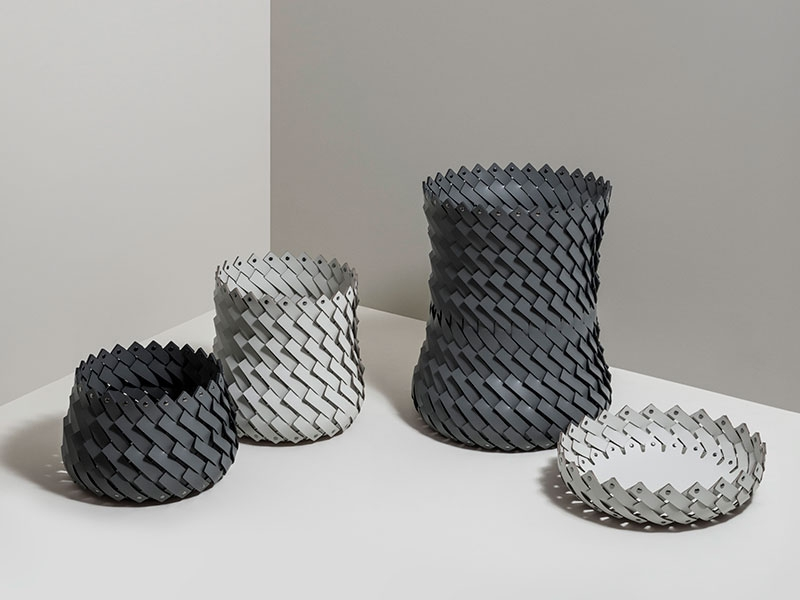 Baskets in leather by Simone Fanciullacci