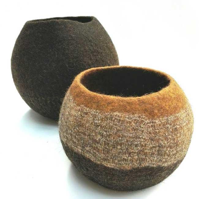 wool vases by Ghislaine GArcin